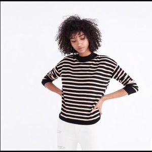 MADEWELL | boxy mock neck stripe pullover sweater